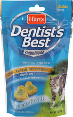 Dentist's Best Dental Treats for Cats & Kittens <p><strong></strong><strong>From the Manufacturer:</strong></p><p>Hartz Dentist's Best cat treats block tartar formation with the power of DentaShield®. Our patented ingredient DentaShield® was developed by researchers at Indiana University's School of Dentistry, and is offered exclusively by Hartz.</p> 3 oz Bag  $5.39