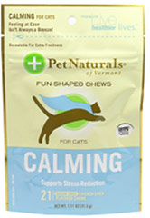 Calming Chews for Cats <p><strong>From the Manufacturer's label:</strong></p><p><strong></strong> Calming Chews for Cats from Pet Naturals of Vermont supports stress reduction.  Sugar free chicken liver flavored chews.</p> 21 Chews  $7.19