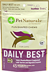 Daily Best Chews for Cats <p><strong>From the Manufacturer:</strong></p><p>Daily Best Chews from Pet Naturals are sugar-free chicken liver flavored chews that come in fun shapes. A perfect multivitamin and mineral supplement for your cat.</p><p>Made with Taurine and Digestive Enzymes.</p> 45 Chews  $9.99