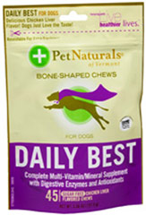 Daily Best Chews for Dogs <p><strong>From the Manufacturer:</strong></p><p>Daily Best Bone-Shaped Chews for Dogs from Pet Naturals of Vermont <strong></strong>are packed with digestive enzymes and antioxidants, keeping your dog happy and healthy. These chews are chicken liver flavored, your dog will love the delicious taste!</p> 45 Chews  $13.99