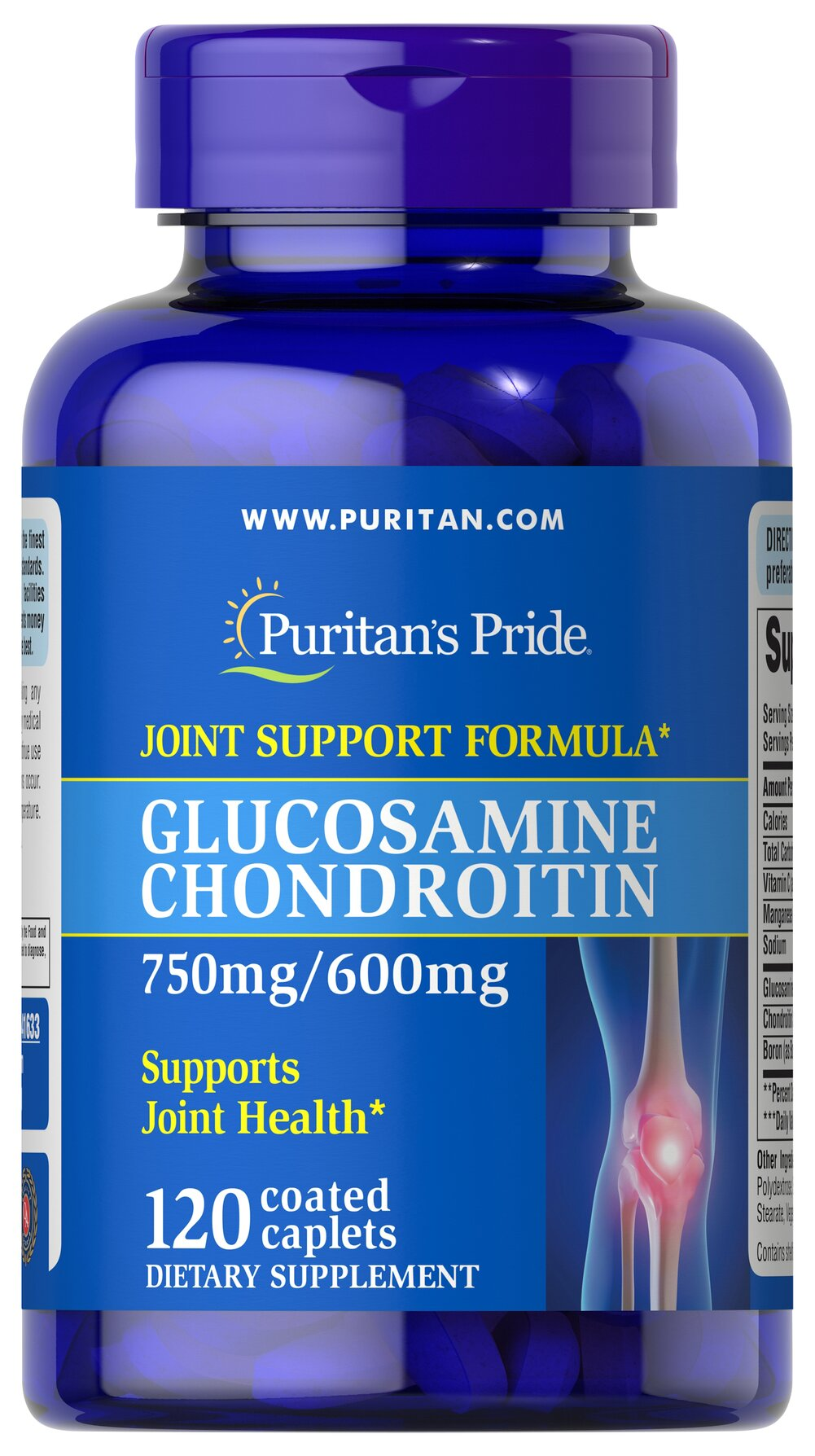 Triple Strength Glucosamine Chondroitin 750 mg/600 mg <p>Glucosamine is a key structural component in cartilage and acts as a lubricant**</p> <p>Chondroitin acts as a lubricant and is an important molecular component of glycosaminoglycans**</p> <p>One serving of Triple Strength Glucosamine Chondroitin helps promote comfortable joint movement and two caplets provide 1500 mg Glucosamine and 1200 mg Chondroitin.</p> 120 Caplets 750 mg/600 mg $43.99