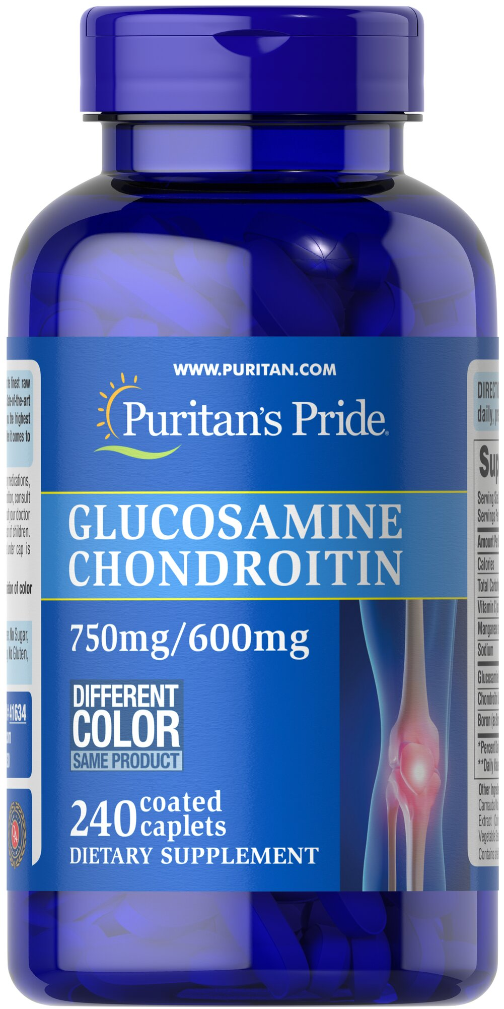 Triple Strength Glucosamine Chondroitin 750 mg/600 mg <p>Glucosamine is a key structural component in cartilage and acts as a lubricant**</p> <p>Chondroitin acts as a lubricant and is an important molecular component of glycosaminoglycans**</p> <p>One serving of Triple Strength Glucosamine Chondroitin helps promote comfortable joint movement and two caplets provide 1500 mg Glucosamine and 1200 mg Chondroitin.</p> 240 Caplets 750 mg/600 mg $84.99