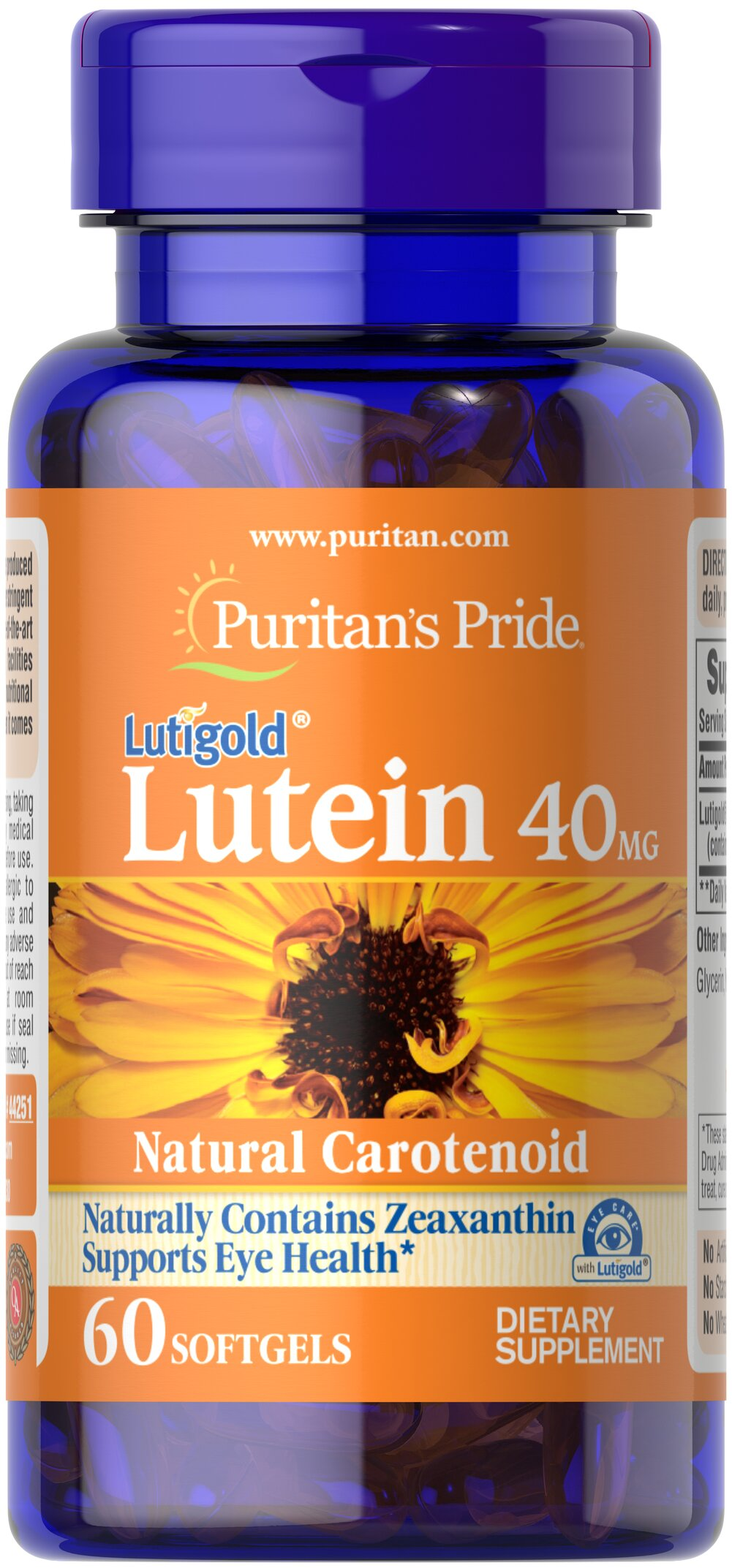 Lutein 40 mg with Zeaxanthin <p>Like other parts of the body, the eyes can be affected by the stresses of time.  Lutein helps to improve vision in low contrast situations, which is essential for night driving.**  Lutein plays a role in the maintenance of eye health and is the principle Carotenoid found in the central area of the retina called the macula.** Carotenoids are fat-soluble antioxidants found in fruits, vegetables, marigolds and other plants.** Adults can take o