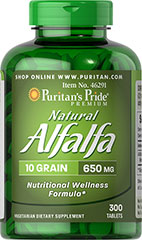 "Natural Alfalfa 650 mg <p>Alfalfa is known as a ""green"" food that contributes to nutritional wellness</p><p>Supports women's health, especially around the time of menopause<p>Vegetarian friendly tablets</p>  300 Tablets 650 mg $13.99"
