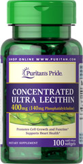 Concentrated Ultra Lecithin 400 mg <p>Promotes healthy brain function**</p><p>Assists with cardiovascular health**</p><p>Contributes to a healthy nervous system**</p><p>Our highest potency Lecithin product to date++</p><p>One softgel provides you with 140 mg of naturally sourced Phosphatidylcholine, a vital part of the B Vitamin Complex.**</p> 100 Softgels 400 mg $7.99