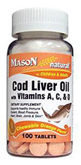 Cod Liver Oil with Vitamins A, C, D Orange Chewables <p><strong>From the Manufacturer's Label: </strong></p><p>Chewable Cod Liver Oil with Vitamins A, C, & D are for children and adults. Comes in a delicious orange flavor. Supports a healthy immune system, brain, heart, joints, and skin.**<br /></p><p>Manufactured by Mason Naturals.</p> 100 Chewables  $3.99