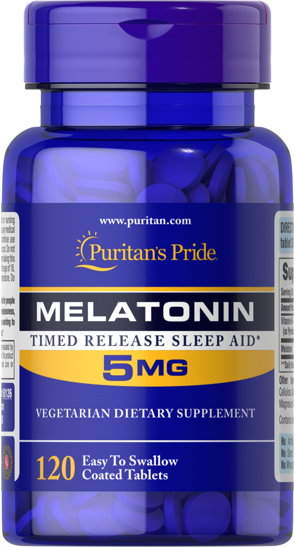 Melatonin 5 mg <p><b>New Time Released formula</b></p> <p>Melatonin is important for the natural sleep cycle and supports restful sleep patterns.**</p> <p>Melatonin is excellent for those experiencing jet lag or occasional sleeplessness.** </p>    120 Caplets 5 mg $11.99