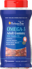 Adult Omega 3 Gummies + Vitamin D 1000 IU <p>Omega-3 Adult Gummy with Vitamin D3 provides essential nutrients your body needs to support heart, bone and immune health.* </p> <p>Each serving provides 736 mg of fish oil and 192 mg of heart healthy omega-3.*</P> 75 Gummies 1000 IU $21.99