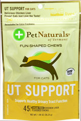 Urinary Tract Support Soft Chews for Cats <p><b>From the Manufacturer's Label: </p></b><p>Sugar Free</p> <p>Chicken Liver Flavored Soft Chews</p> <p>Supports Healthy Urinary Tract Function</p>  45 Chews  $9.89