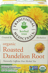"Organic Roasted Dandelion Root Tea <p><strong>From the Manufacturer's Label: </strong></p><p>Once you've brought dandelion into your lift, you'll never look at those ""pesky weeds"" the same way again. Dandelion tea is pleasantly roasted, sweet and slightly bitter but delicious.<br /></p><br /> 16 Tea Bags  $7.99"