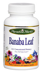 Banaba Leaf 12:1 Extract 250 mg <p><strong>From the Manufacturer's Label: </strong></p><p><strong>Paradise Herbs</strong> Banaba leaf is a True Full Spectrum 12:1 potent concentration.  It is naturally extracted without the use of toxic solvents, harsh chemicals or gases to ensure all the active and synergistic constituents are present in the balanced ratio nature intended.</p><p>Fluctuations in blood sugar are related to appetite and var