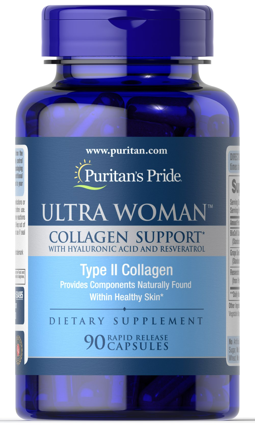 Ultra Woman™ Collagen Support <p><span></span>Standardized to contain 10% Hyaluronic Acid.</p><p><span></span>Also includes Resveratrol for antioxidant support.**</p><p><span></span>Rapid release capsules.</p><p>Ultra Woman™ Collagen Support is a dietary supplement that is made up of a complex of nutrients. Each serving includes 1,000mg of BioCell Collagen II® which is standardized to contain 10% Hyaluronic Acid,