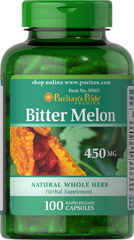 Bitter Melon 450 mg <p>Bitter Melon is a traditional herb.<br /></p><p>Bitter Melon is also called bitter gourd, balsam pear, karela and pare</p><p>Grows in tropical areas of the Amazon, East Africa, Asia, India, South America and the Caribbean</p><p>Rapid release capsules allow for quick dispersion</p> 100 Capsules 450 mg $12.99