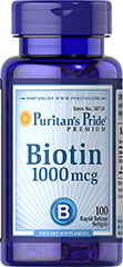 Biotin 1000 mcg <br /><p>Supports skin health.**</p><p>Promotes hair health.**</p><p>Rapid release softgels.</p><p>Biotin has many benefits, including the support of skin, hair and nail health.** Biotin also supports protein, carbohydrate and fat metabolism.** In this softgel form, it quickly absorbs into your system for faster bioavailability. Includes 100 rapid release softgels.</p> 100 Softgels 1000 mcg $10.29