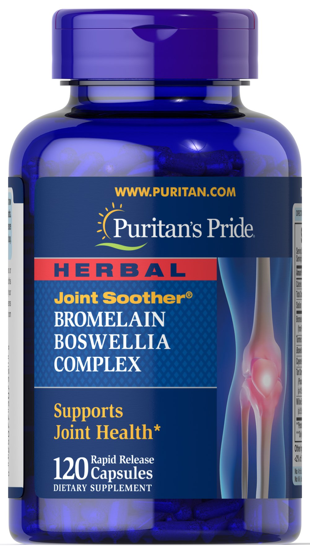 Herbal Joint Soother® Bromelain Boswellia Complex with Turmeric <p>Contains ingredients that work together to support joint health**</p> <p> Also contains Turmeric and White Willow Extract</p> <p>Herbal Joint Soother® available in rapid release capsules</p> <p>This Herbal Joint Soother® features a combination of ingredients that work together to support joint health.** Cartilage support is an important part of healthy joints, and these rap