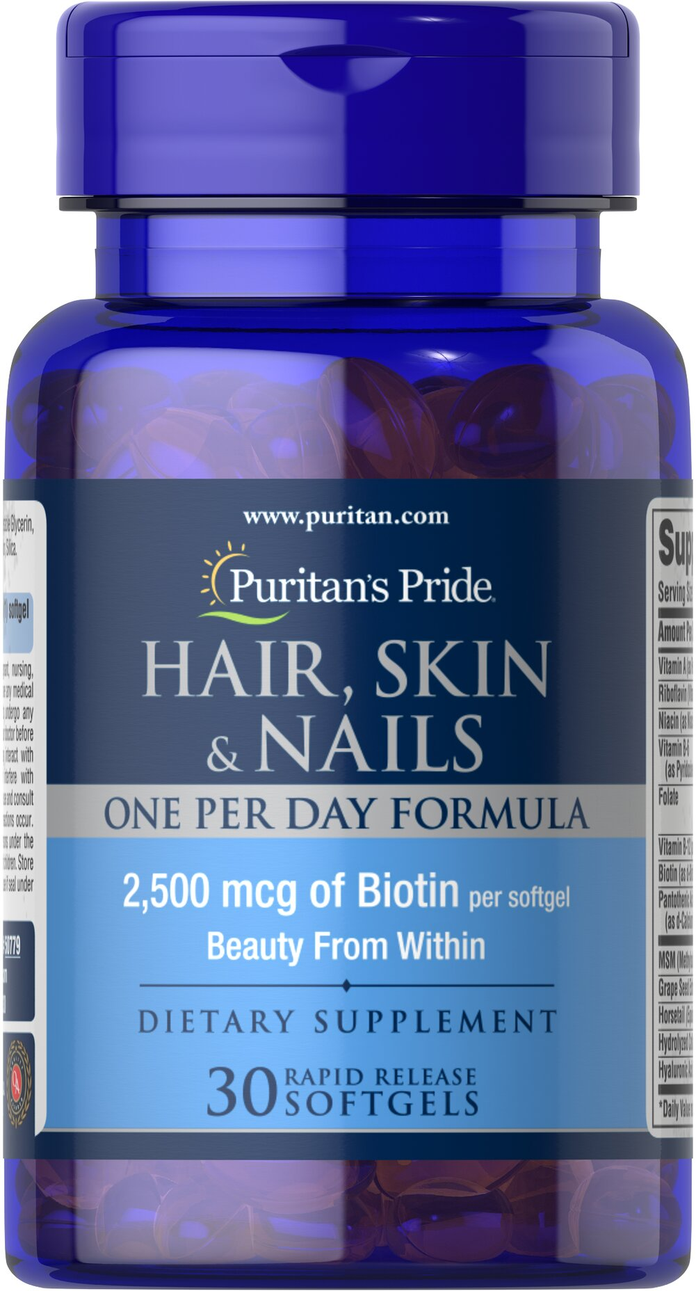 Hair, Skin & Nails One Per Day Formula <p><span></span>2,500mcg of Biotin per softgel.</p><p><span></span>One-per-day formula for hair, skin and nails.**</p><p><span></span>Rapid release softgels.</p><p>Use our Hair, Skin & Nails One Per Day Formula to strengthen and fortify.** This vitamin supplement contains many different beneficial vitamins, including Biotin, Vitamin A, Folic Acid and MSM, providing bea