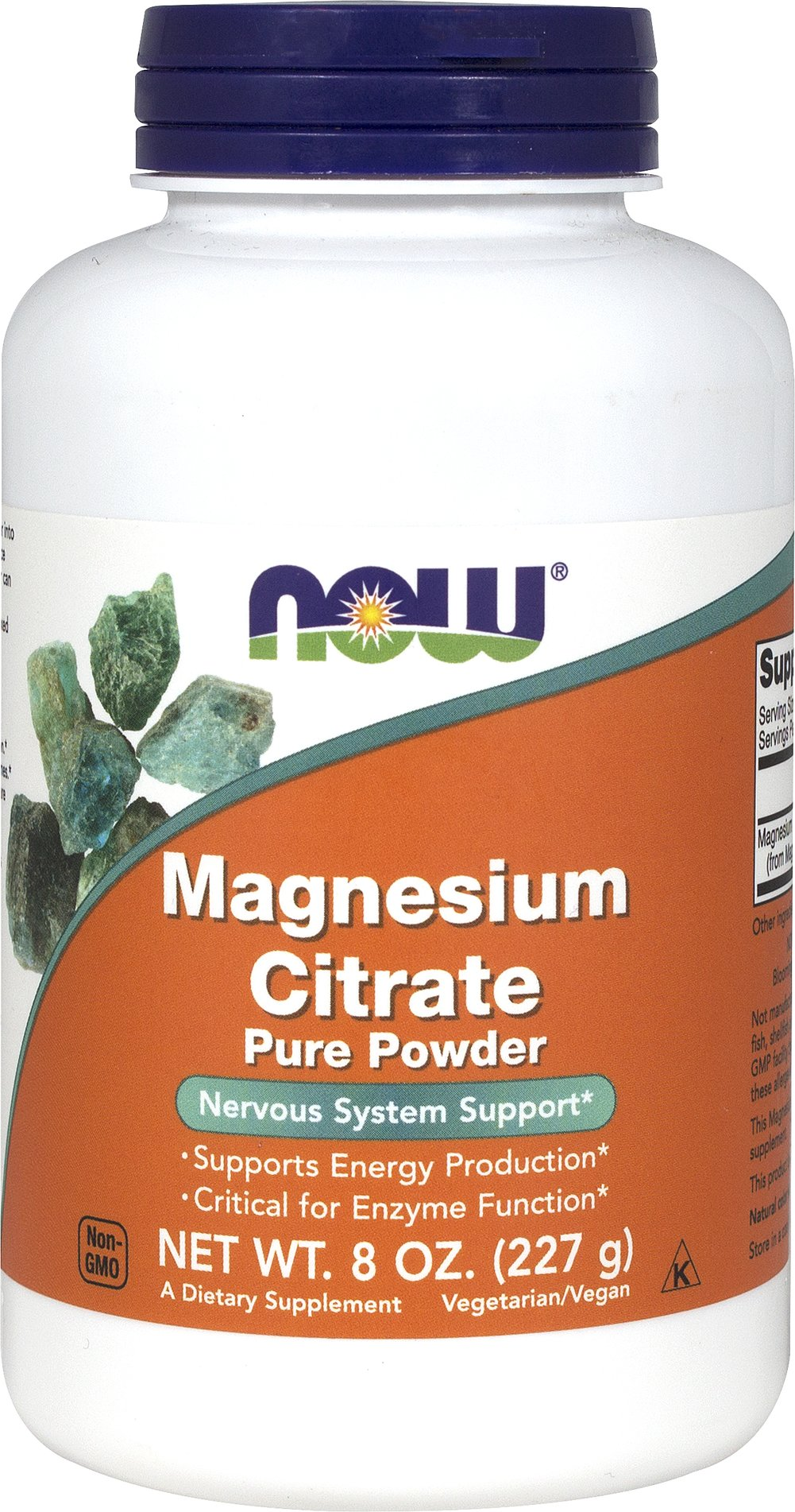 Magnesium Citrate Powder 227 grams <p><strong>From the Manufacturer's Label</strong></p><p>100% Pure Powder</p><p>Supports Energy Production**</p><p>Critical for Enzyme Function**</p><p>Magnesium is a mineral that is critical for energy production and metabolism, muscle contraction, nerve impulse transmission, and bone mineralization.**  It is a required cofactor for an estimated 300 enzymes.  NOW®Magnesium Citrate Powder