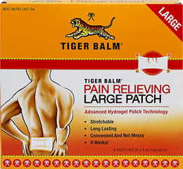 Tiger Balm® Pain Relieving Large Patch <p><strong>From the Manufacturer's Label:</strong></p><p>Stretchable</p><p>Effective</p><p>Long Lasting</p><p>Convenient & not messy</p><p>Tiger Balm® Large Patch is a flexible pain relieving patch.  Once applied, its ingredients penetrate the skin and are absorbed, thus stimulating blood circulation around the area of pain.  The product provides fast, long l