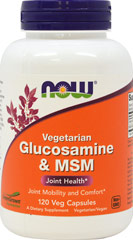 Glucosamine & MSM Vegetarian 500 mg/500 mg <p><strong>From the Manufacturer's Label:</strong></p><p>Glucosamine is an essential substrate for the formation of glycosaminoglycans (GAGs) and proteoglycans, which are the main components of cartilage tissue.  MSM (Methylsulfonylmethane) is a natural source of organic sulfur, a mineral necessary for the production of proteoglycans.** NOW's formula contains Glucosamine from a vegetarian source and not from shellfi