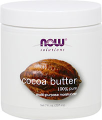 NOW Cocoa Butter 100% Pure <p><b>From the Manufacturer's Label:</b></p> <p><b>Condition:</b> Skin in need of a multi-purpose, whole body moisturizer.</p>  <p><b>Solution:</b> 100% Pure Cocoa Butter is an all natural moisturizer that's safe for use on even the most sensitive skin types. It is popular for sunburn and dry chapped skin.  In its natural state, cocoa butter is solid at room temperature, and may vary in color and