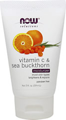 NOW Vitamin C & Sea Buckthorn Moisturizer <p><strong>From the Manufacturer's Label:</strong></p><p><strong>Condition:</strong> Combination skin with minor color imbalances, dull appearance, uneven tone, caused by acne or other blemishes.  Uneven skin in need of additional moisture, brightening and restoration. </p><p><strong>Solution:</strong> Vitamin C & Sea Buckthorn Moisturizer works with the skin's natural