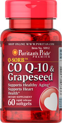Co Q-10 & Grapeseed <p><span></span>Supports healthy aging.**</p> <p><span></span>Supports heart health.**</p> <p><span></span>Rapid release softgels.</p> <p>Our Q-Sorb™ Co Q-10 & Grapeseed dietary supplement contains 100mg of grapeseed extract which provides antioxidant support in one softgel.** It also contains 50mg of Q-Sorb™ Coenzyme Q-10 to support healthy aging and heart health.** Includes 60 rapid releas