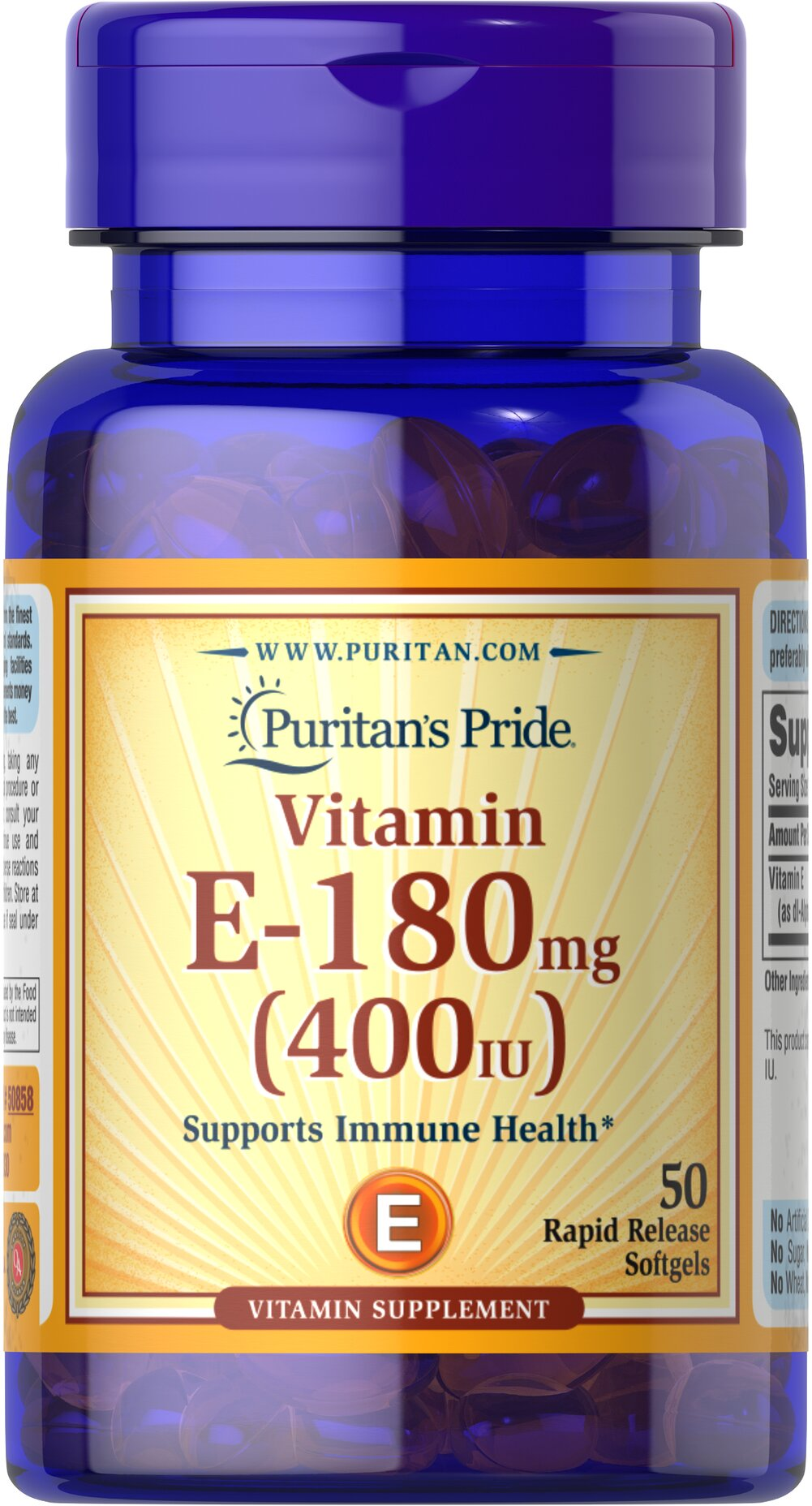 Vitamin E-400 IU <p>Features dl-Alpha Vitamin E, a synthetic form of Vitamin E</p><p>Promotes heart and circulatory health**</p><p>Contributes to healthy skin and immune function**</p><p>Rapid release liquid softgels are easy to swallow</p><p>One a day formula</p> 50 Softgels 400 IU $7.99