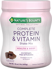 "Protein Shake Chocolate <p>Nature's Bounty® Complete Protein & Vitamin Shake Mix is a new and exciting way to get the nutrients you need most.** Our Chocolate flavor is a decadent Optimal Solutions for health. Each serving provides important Protein, Fiber, B vitamins, antioxidants, electrolytes, prebiotics, probiotics and more!</p><p?•energy -="""" acid<="""" along="""" and="""" b1,="""" b12="""" b2,="""" b6="