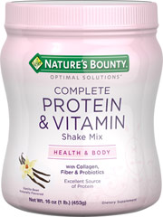 "Protein Shake Vanilla <p>Nature's Bounty® Complete Protein & Vitamin Shake Mix is a new and exciting way to get the nutrients you need most.** Our Vanilla flavor is a decadent Optimal Solutions for health. Each serving provides important Protein, Fiber, B vitamins, antioxidants, electrolytes, prebiotics, probiotics and more!</p><p?•energy -="""" acid<="""" along="""" and="""" b1,="""" b12="""" b2,="""" b6=&quo"