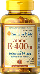 Vitamin E-400 IU with Selenium 50 mcg <p>Vitamin E and Selenium work together to promote antioxidant health**</p><p>Supports heart health and healthy circulation**</p><p>Contributes to a healthy immune system**</p><p>Easy to swallow rapid release softgels</p><p>One a day is all you need!</p> 250 Softgels 400 IU/50 mcg $31.99