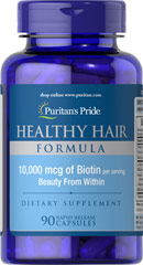 Healthy Hair Formula with Biotin 10,000 mcg  <p>Grow your beauty from within with Puritan's Pride Healthy Hair formula! This hair supplement includes Biotin to help support healthy hair (as well as skin and nails).** Plus Healthy Hair contains Folic Acid – which is involved in new cell growth – and L-Cysteine  – which is a sources of sulfur, one of the raw materials for collagen.** The supplement also contains PABA and MSM.</p>  90 Capsules 10000 mcg $17.99