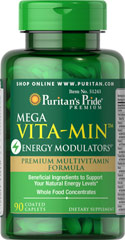 Mega Vita-Min™ Energy Modulators® <ul><li>Premium Multivitamin Formula</li><li>Beneficial Ingredients to Support Your Natural Energy Levels*</li><li>Whole Food Concentrates</li></ul> 90 Caplets  $29.99
