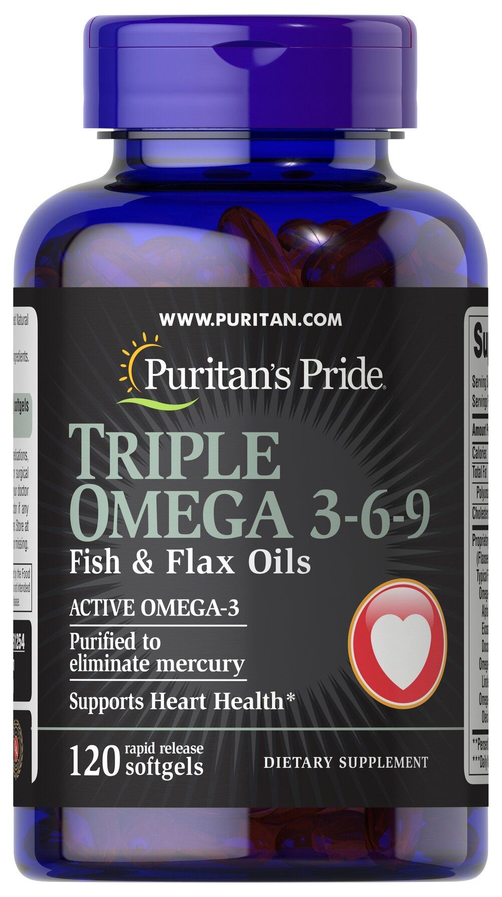 "Triple Omega 3-6-9 Fish & Flax Oils <p>Contains Omega-3, Omega-6 and Omega-9 – the ""good"" fats important for cellular, heart and metabolic health.**  </p><p>TRIPLE OMEGA 3-6-9 Fish and Flax Oils contain a proprietary blend of essential oils, including Flaxseed Oil and  Ester Omega Fish Oil. </p><p>Supports Heart Health.** </p><strong></strong><p>Purified to eliminate mercury.</p><p></p> 120 Softgels  $22.99"