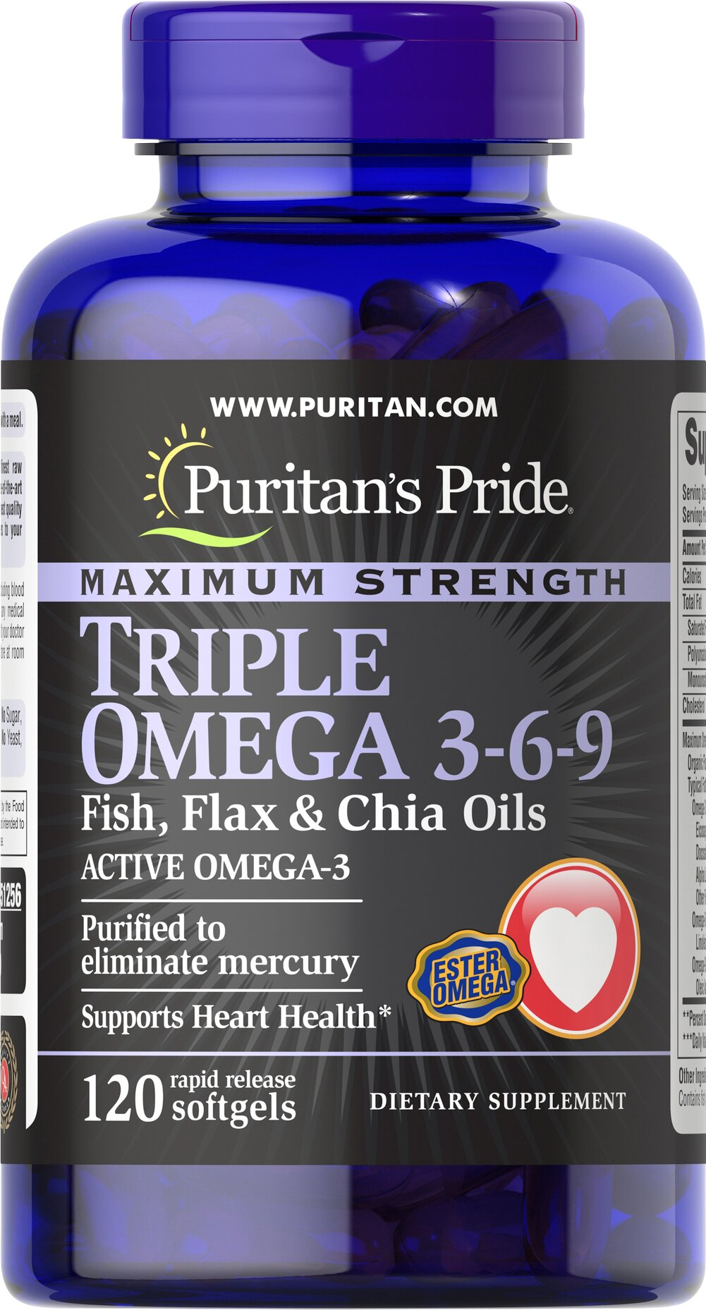 "Triple Omega 3-6-9 with Fish, Flax & Chia <p>Contains Omega-3, Omega-6 and Omega-9 – the ""good"" fats important for cellular, heart and metabolic health.**  </p> <p>TRIPLE OMEGA 3-6-9 Fish and Flax Oils contain a proprietary blend of essential oils, including Flaxseed Oil,  Ester Omega Fish Oil and Chia. </p> <p>Supports Heart Health.* </p> <b><p>Purified to eliminate mercury.</b></p> 120 Softgels  $24.99"