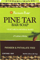 Pine Tar Bar Soap <p>Triple acting cleanser, deodorizer and moisturizer.</p><p>Made from vegetable and mineral-based ingredients.</p><p>Pine Tar Bar Soap is made from vegetable and mineral-based ingredients for a refreshing feeling of clean.  The bath soap's triple action cleanses, deodorizes and moisturizes. This dark colored soap lathers white and is perfect for bathing. Not tested on animals. For external use only. Contains one 3.25-ounce bar.</p><p>F