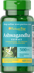 "Ashwagandha Standardized Extract 500 mg <ul><li>Standardized to contain 1.5% Withanolides</li><li>Known as ""Indian Ginseng""</li><li>Promotes well being**</li><li>Rapid release</li></ul><p>Ashwagandha is a traditional herb that supports well being.** Known as ""Indian Ginseng"", Indian shamans used this traditional herb for its adaptogenic qualities. Each capsule contains 500 mg of Ashwagandha Extract, standardized to contain 1."