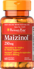 Maizinol™ (SAM-e alternative) <p><span></span>Alternative to SAM-e for mood support.**</p> <p><span></span>Maizinol™ 250mg is equivalent to SAM-e 400mg.</p> <p><span></span>Rapid release capsules.</p> <p>Maizinol™ is a dietary supplement derived from corn, and it is considered an alternative to SAM-e for mood support.** One 250mg capsule of Maizinol is equivalent to 400mg SAM-e. Includes 60 rapid release capsules.</