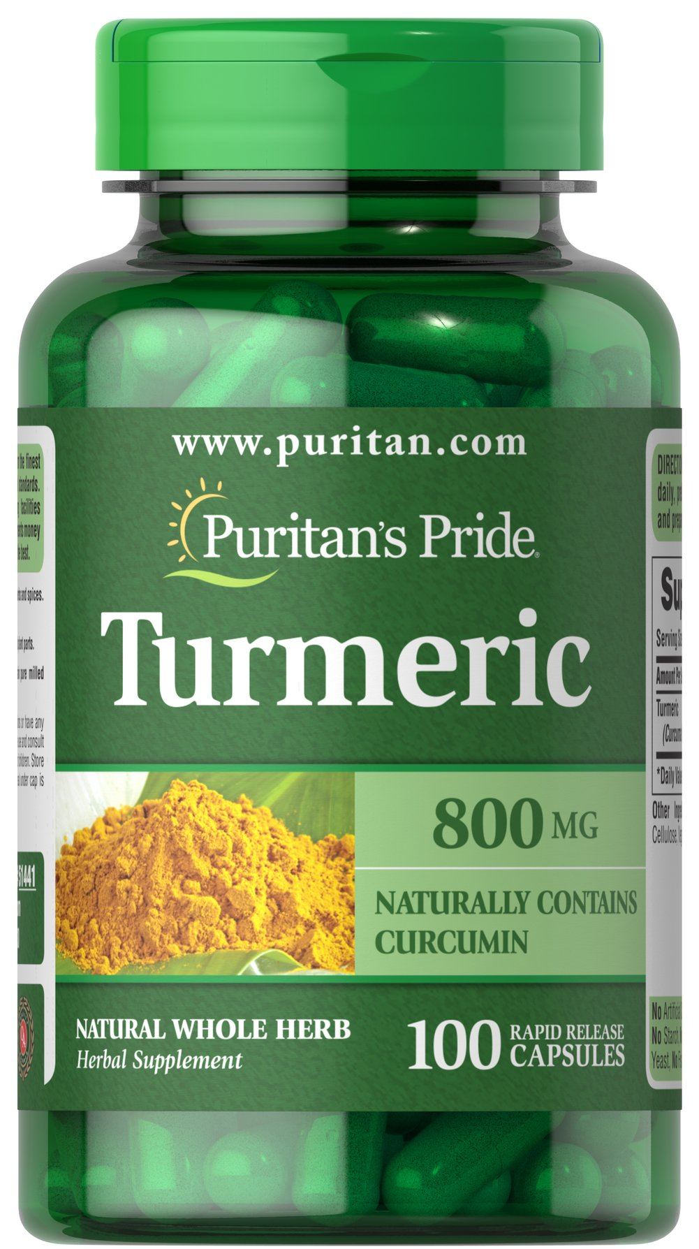 Turmeric 800 mg <p>Turmeric, a common spice used in curry dishes, has become a popular herbal supplement due to its potential antioxidant properties, which may contribute to brain health.** Available in 800 mg capsules, adults can take one capsule two times daily with meals. Capsules may be opened and prepared as a tea.</p> 100 Capsules 800 mg $9.95