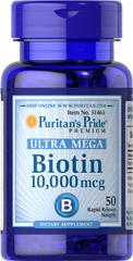 Biotin 10,000 mcg <p>Helps promote skin, hair and nail health.**</p> <p>Assists protein and fat metabolism for energy use.**</p> <p>Rapid release softgels.</p> <p>Biotin helps promote skin, hair and nail health so you can look and feel your best.** Just one Ultra Mega Biotin softgel provides 10,000mcg of Biotin, also known to assist in protein and fat metabolism for energy use.** Includes 50 rapid release softgels.</p>  50 Softgels 10000 mcg $5.49