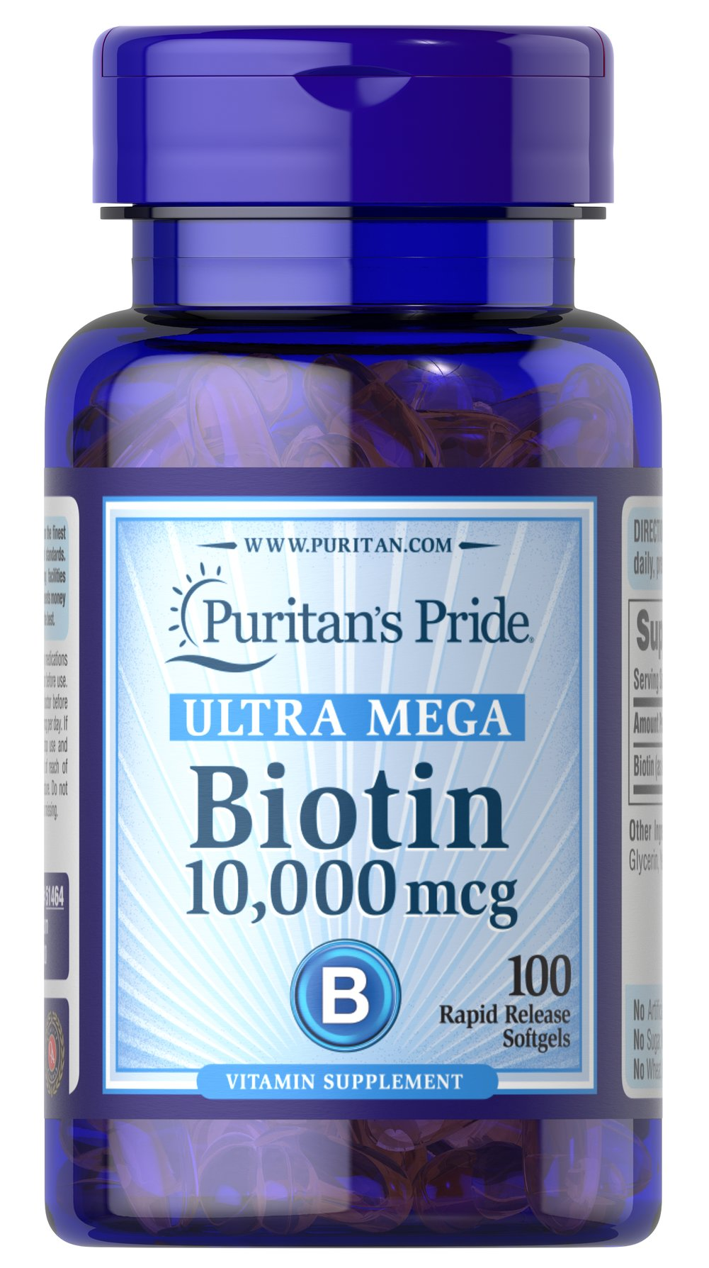 Biotin 10,000 mcg <p>Helps promote skin, hair and nail health.**</p><p>Assists protein and fat metabolism for energy use.**</p><p>Rapid release softgels.</p><p>Biotin helps promote skin, hair and nail health so you can look and feel your best.** Just one Ultra Mega Biotin softgel provides 10,000mcg of Biotin, also known to assist in protein and fat metabolism for energy use.** Includes 50 rapid release softgels.</p><p></p> 100 Softgels
