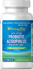 Probiotic Acidophilus 1 billion active cultures at the time of  manufacture<p></p><p>Helps maintain healthy intestinal balance**</p> 60 Tablets  $8.29