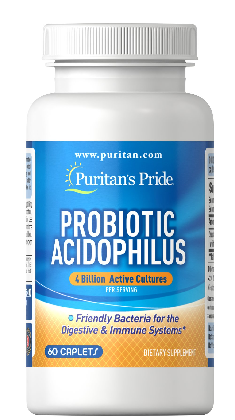 Acidophilus & Digestive Enzymes Get the digestive support you need with Puritan's Pride Acidophilus & Digestive Enzymes.** This broad-spectrum dual-action formula contains 2 Billion Bio-Active Probiotic Microorganisms<sup>#</sup> and 9 Digestive Enzymes. <br /><br />The Bio-Active Probiotic Complex comes from 5 Beneficial Cultures. These cultures help promote the healthy functioning of the intestinal system and helps maintain a favorable balance of intesti
