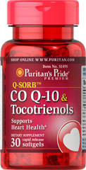 Co Q-10 & Tocotrienols <p>Statin medications can reduce Co Q-10 levels in the body. Co Q-10 can replenish what Statin medications may deplete. Note: Co Q-10 is not intended to serve as a replacement for Statin therapy, nor should you discontinue taking any prescribed medications while supplementing with Co Q-10.</p>  30 Softgels  $18.99