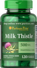 Milk Thistle 500 mg <p>Milk Thistle, derived from a purple flower, has been used in Greek practices for thousands of years. </p><p>Puritan's Pride's Guarantee: We use only the finest quality herbs and spices. Each is screened and finely milled for quick release. </p> 120 Capsules 500 mg $13.99