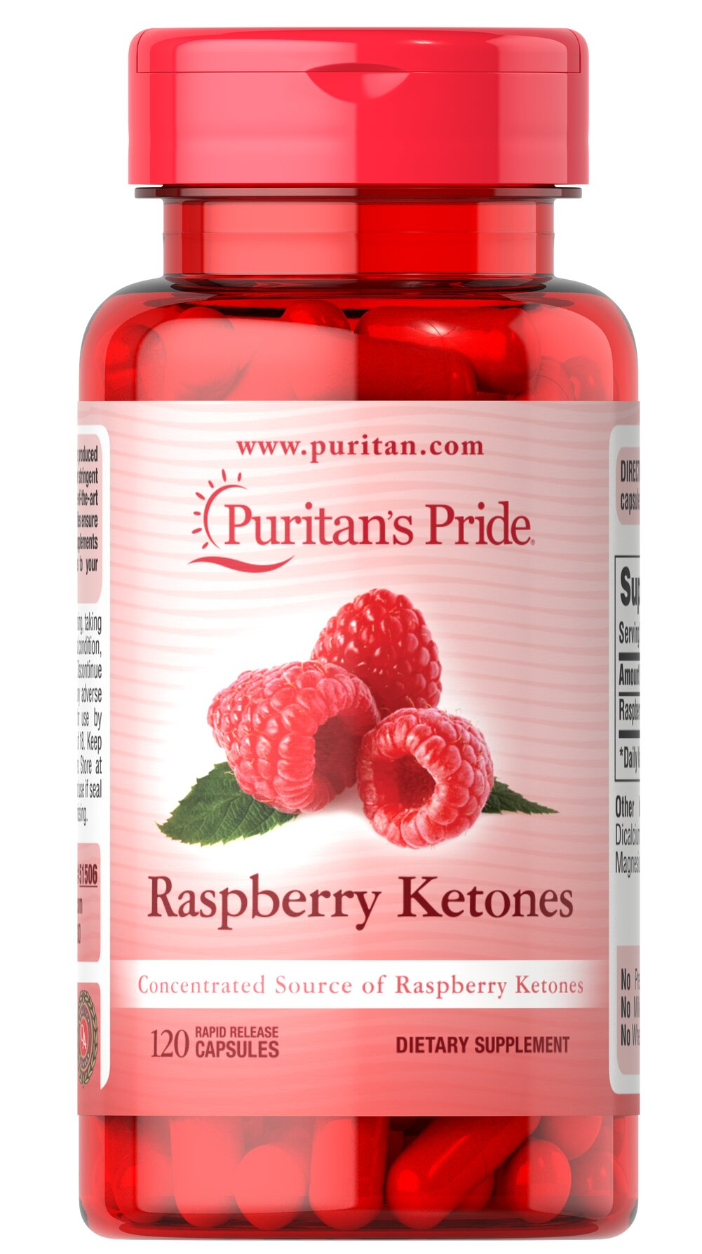 Raspberry Ketones 100 mg <p><span></span></p><br />In the last decade, scientists took note of the fact that raspberry ketone is molecularly similar to capsaicin. Capsaicin is the chemical in chili peppers that gives it heat. As more studies about raspberry ketone are conducted, the scientific community is learning more and more.<br />Our Raspberry Ketones are highly concentrated. Each serving of this dietary supplement contains 100mg of raspberry ketones. Rap