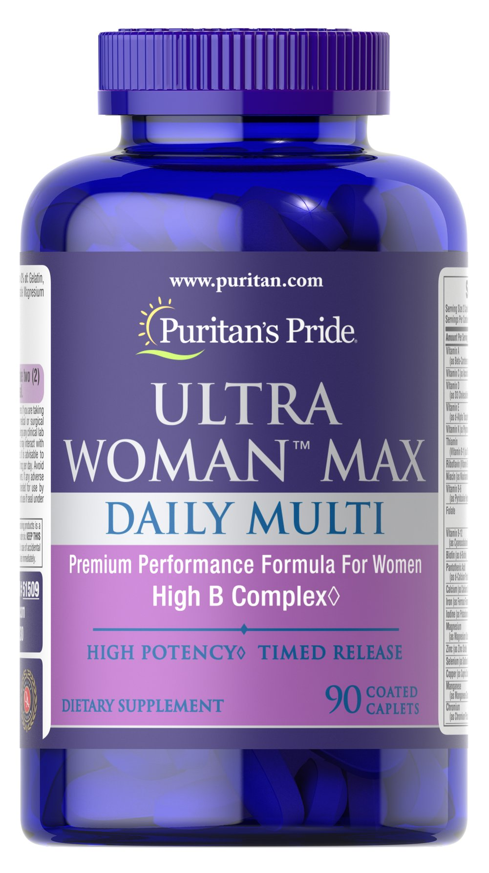Ultra Woman Max This high potency daily multi was designed with a woman's specific health needs in mind. The High B-Complex helps support overall well-being.** B Vitamins work together to support nervous system health.** B Vitamins also promote energy metabolism and provide nourishment for the stress of daily living.** <br /><br />The antioxidant blend (including antioxidants like Vitamin C and Vitamin E) helps neutralize harmful free radicals.** Free radicals can damage cell mem