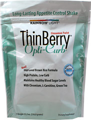 ThinBerry® Opti-Curb® Shake Cinnamon Twist <p><strong>From the Manufacturer's Label:</strong></p><p>• High Protein, Low carb<br />• Maintains healthy blood sugar levels already within a normal range**<br />• With chromium, L-carnitine, green tea</p><p><strong></strong></p>Manufactured by Rainbow Light. 14 oz Powder  $19.49