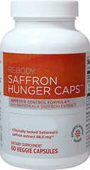 Hunger Caps with Saffron 88.5 mg <p><strong>From the Manufacturer's label:</strong></p><p>Each capsule contains 88.5 mg of Satiereal® Saffron Extract</p><p>Manufactured for Re-Body, LLC</p> 60 Capsules 88.5 mg $24.99