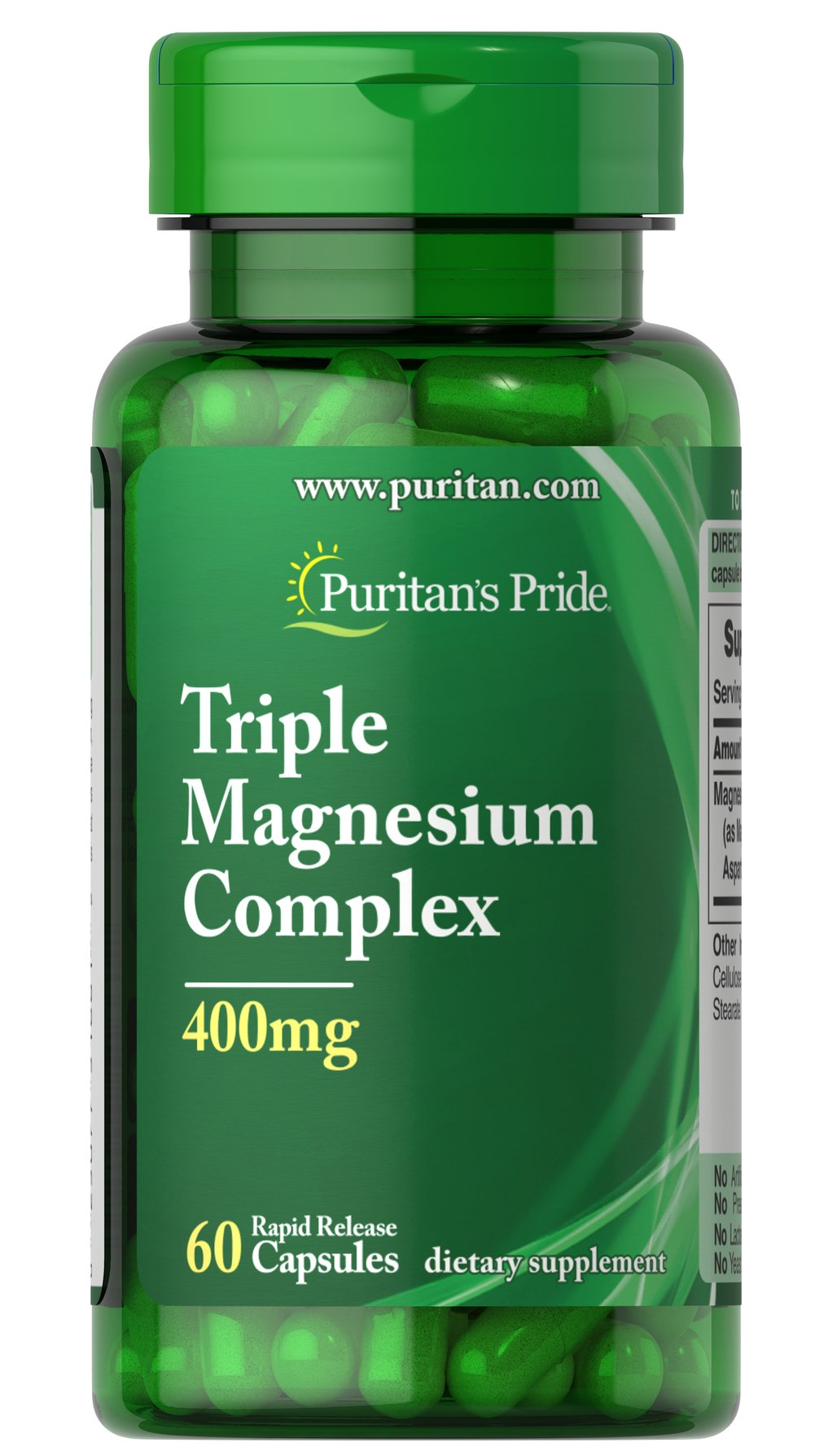 Triple Magnesium Complex 400 mg <p>Promotes bone health.**</p> <p>Contains Magnesium Oxide, Aspartate and Citrate.</p> <p>Rapid release.</p> <p>Triple Magnesium Complex helps maintain healthy bones in adults.** This dietary supplement supports bone health, and plays a role in the regulation of Calcium.** Each capsule has 400 mg of our Magnesium complex consisting of Magnesium Oxide, Magnesium Aspartate and Magnesium Citrate. Includes 60 rapid release cap