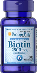 Biotin Sublingual 2500 mcg <p><span></span>Helps promote skin, hair and nail health.**</p><p><span></span>Sublingual microlozenge form.</p><p><span></span>Vegetarian dietary supplement.</p><p>Biotin offers many benefits, such as helping to promote skin, hair and nail health.**  Biotin also supports protein, carbohydrate and fat metabolism.** In this sublingual form, the microlozenge easily starts to dissolve under your